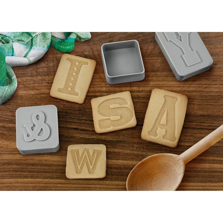 Letter Pressed Cookie Cutters - for the type obsessed like yours truly :-): Prints Press, Gifts Ideas, Cookies Stamps, Letters Press, Cookies Press, Cookies Cutters, Press Cookies, Letterpresses Cookies, Kitchens Tools