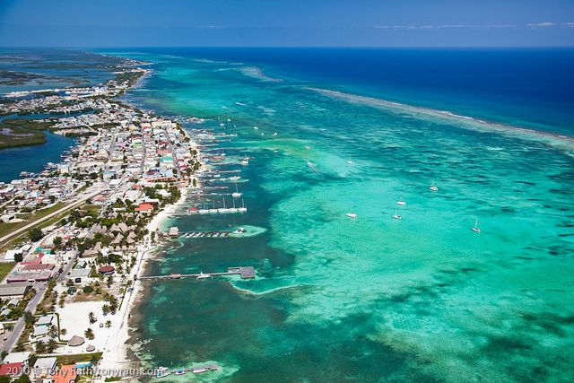 Aerial of San Pedro, Ambergris Caye, Belize looking north
