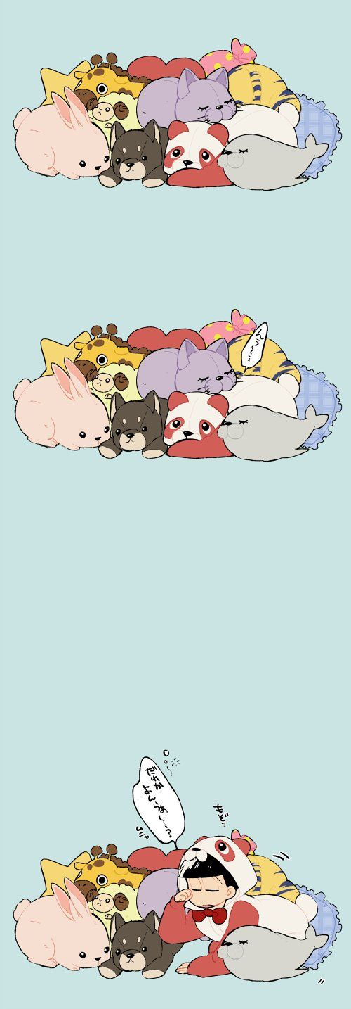 Sleeping in a pile of stuffed toys.