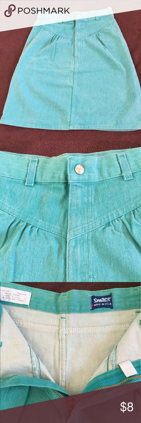 "Turquoise  jean skirt Size 14, pocket  on both side.Above knee length  19-1/2 long and waist line 27"" by:Smacs USA. Smacs Skirts"