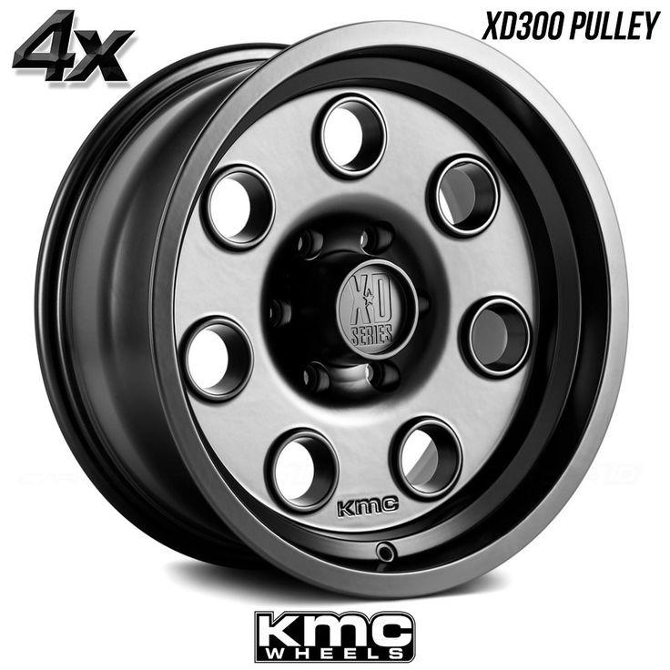 "4 KMC XD300 Pulley 17""x8"" 5x127 Black OFST:0mm 17 Inch Rims 17X8 Wheels"