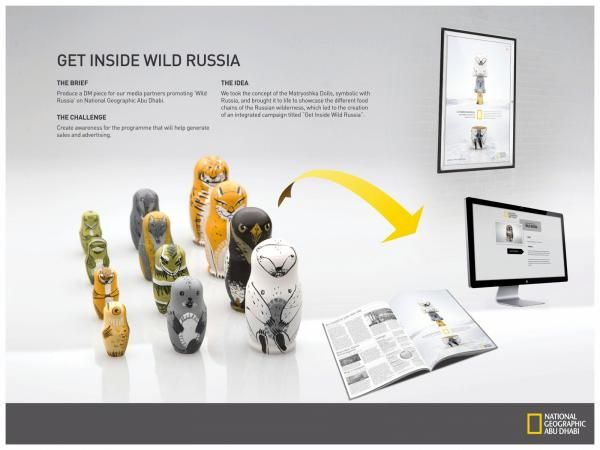 "National Geographic Tv Channel: ""MATRYOSHKA"" 'Get Inside Wild Russia' Direct marketing  by Leo Burnett Dubai"
