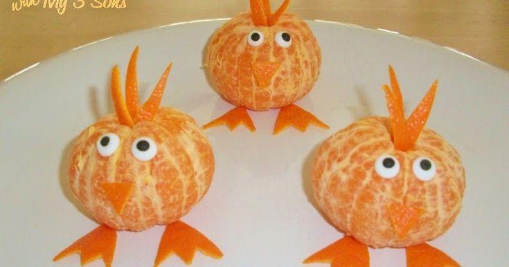 Als kippenfan  vind ik dit een hele leuke! Kippenmandarijnen!   Pel de mandarijntjes. Snijd van de schil per mandarijn 2 poten, 1 kam en 1...