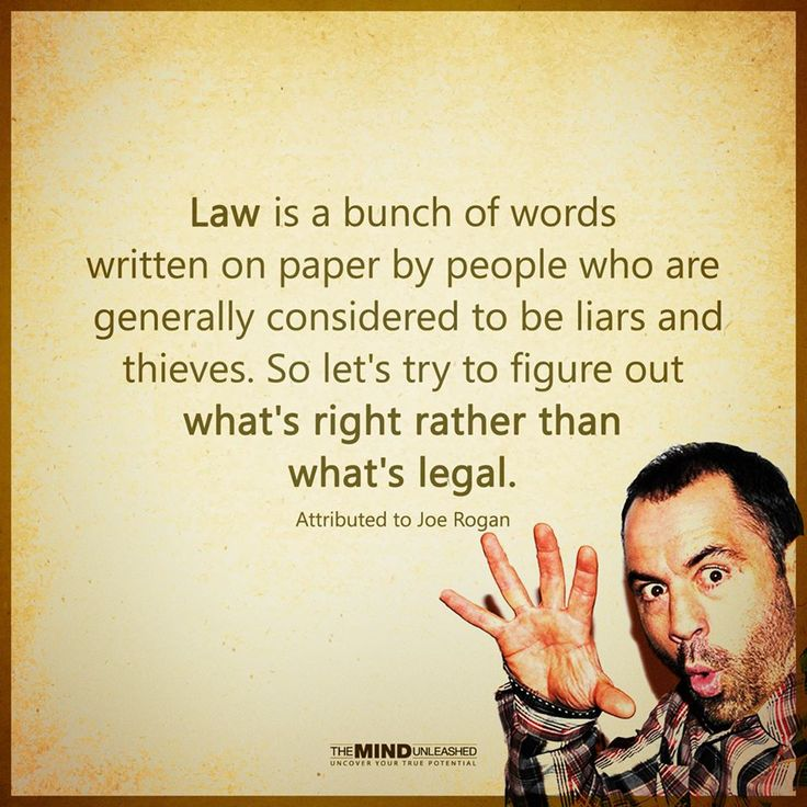Law is a bunch of words written on paper by people who are generally considered to be liars and thieves. So let's try to figure out what's right than what's legal.