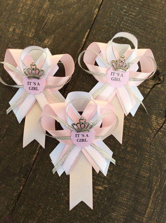 12 pernos invitado rosa y plata de ducha-guest pins-pink de bebé bebé ducha de…