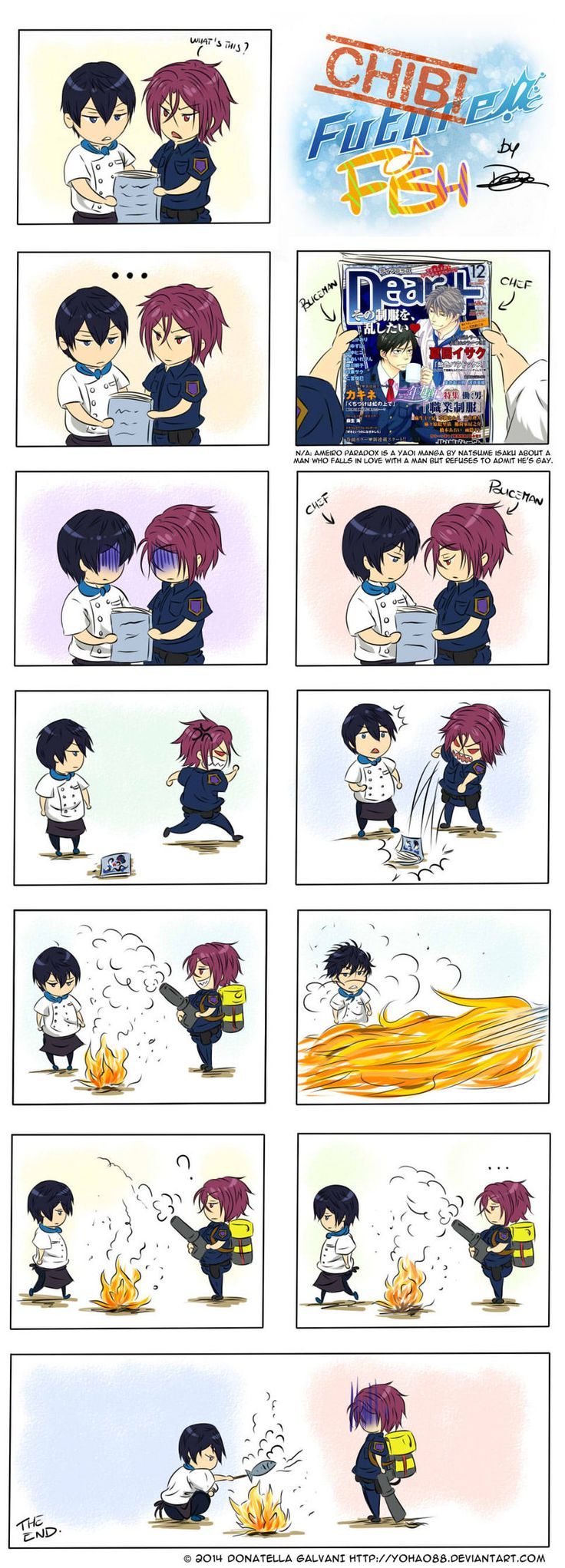 Not us! ... Drawn by Yohao88 ... Free! - Iwatobi Swim Club, haruka nanase, haru nanase, haru, nanase, haruka, free!, iwatobi, rin matsuoka, rin, matsuoka, cop, police, chef, cook