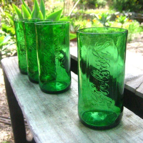 Four Small Upcycled Green Grolsch Beer Bottle by BottlesNWood