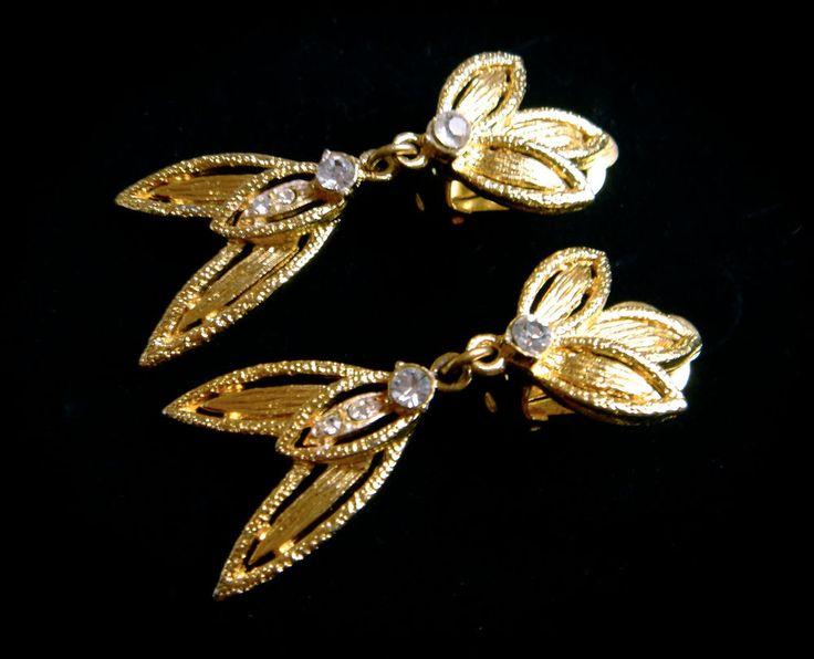 Vintage Earrings Art Deco Style Czech Glass Clip Long Gold Clear Rhinestone
