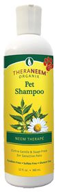 TherNeem Pet Shampoo will cleanse and revitalize your pet's skin and coat. This formula cleans gently, without harsh chemicals, soaps or synthetic waxy thickeners. You will love how you beloved pet's coat will look, feel and smell after using TheraNeem Pet Shampoo.  THERANEEM ® - PET SHAMPOO - NEEM THERAPE - Extra Gentle & Soap -Free for Sensitive Pets  Paraben Free  Sulfate Free  Gluten Free