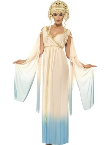 Greek Princess Costume Beige With Gold Trim Includes Dress And Headpiece.