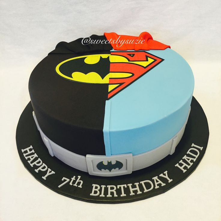 Batman and Superman birthday cake made by SweetsBySuzie in Melbourne