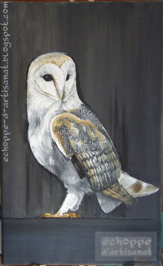 Barn owl oil painting by EchoppedArtisanat on Etsy, $200.00