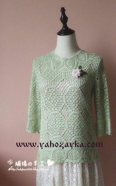 Пуловер с узором ананас
