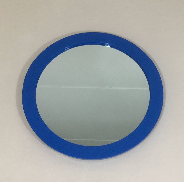 1970's round retro blue wall mirror. Made in Denmark. by LeKrazyHorse on Etsy