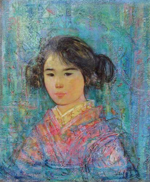 "Original Painting ""Japanese Girl"" by Edna Hibel"