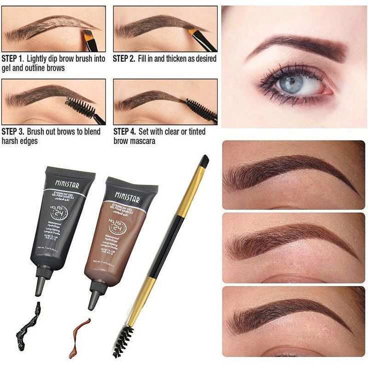 2pc Brown Waterproof Tint Eyebrow Henna With Mascara Eyebrows Paint Brush Beauty #Unbranded
