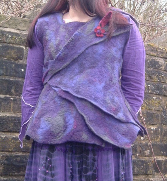 Felted Blackberry Purple Waistcoat Jacket Top with Button On Pixie Hood. £92,00, via Etsy.