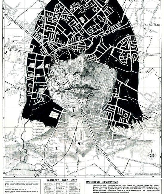 Una serie di ritratti su vecchie mappe geografiche