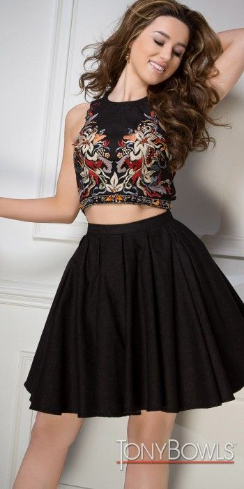 Two Piece Embroidered Denim Cocktail Dress by Tony Bowls #edressme