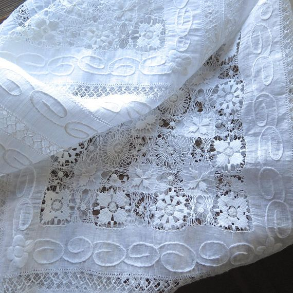White Linen Curtain Up-Cycled Antique Tablecloth from Shanghai