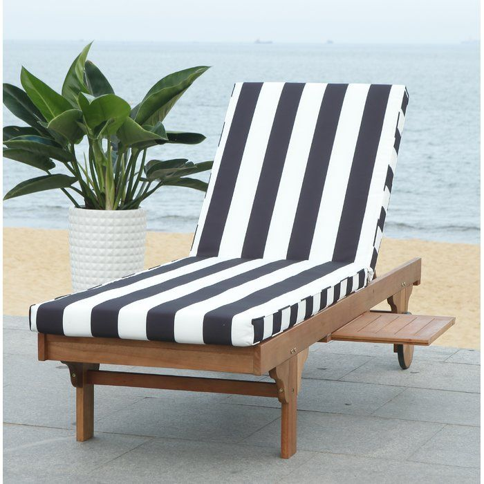 Fullerton Reclining Teak Chaise Lounge With Cushion And Table Lounge Chair Outdoor Outdoor Chaise Lounge Teak Chaise Lounge