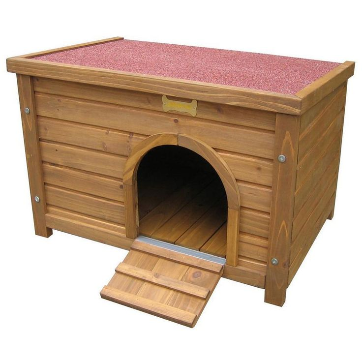 Small Animal House Kennel Hideout Dog Cat Puppy Kitten Wooden Brown Access Ramp