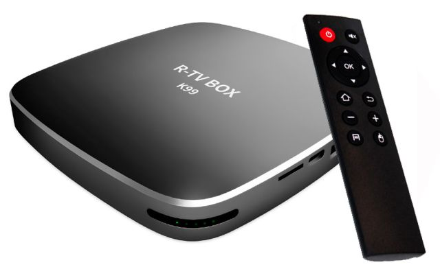 "R-TV BOX K99 TV Box is the new fairly ""strongly"" equipped Android TV Box and we do not mean only the SoC RK3399, but also 4GB RAM, 32GB eMMC"