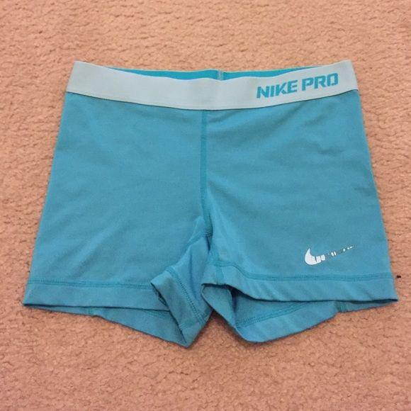 Aqua Blue Nike Pro shorts rare Aqua blue Nike pros size small, cracked swoosh is accounted for in price Nike Shorts