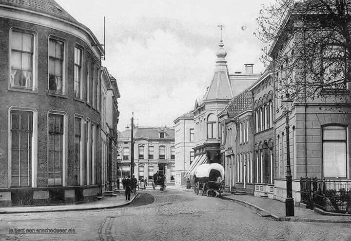 Nederland, Enschede, Marktstraat omstreeks 1900 (voorheen 1e Langestraat)