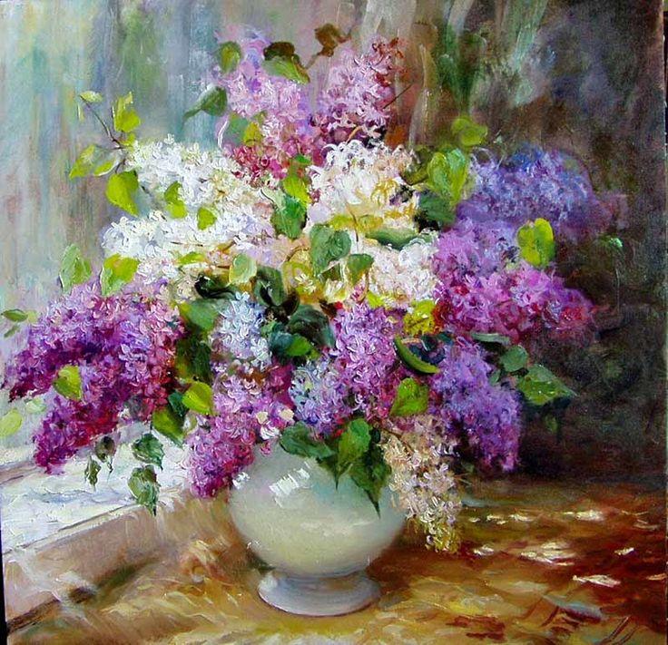 floralart.quenalbertini: Lilacs bouquet   Artist unknown