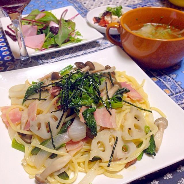 鎌田の白だしで和風スパゲティ ベーコン、レンコン、小松菜、新玉ねぎ、しめじ  キャベツともやしのコンソメスープ  ごりとクリームチーズの和え物  ハムサラダ   のんある気分の赤ワインテイスト❤︎ - 9件のもぐもぐ - 野菜たっぷり和風スパゲティ by chihiroish95Z