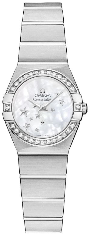 123.15.24.60.05.001  NEW OMEGA CONSTELLATION LADIES WATCH     Usually ships within 8 weeks - FREE Overnight Shipping - NO SALES TAX (Outside California)- WITH MANUFACTURER SERIAL NUMBERS- White Mother of Pearl Dial - 28 Diamonds Set on Bezel - Date Feature - Battery Operated Quartz Movement- 3 Year Warranty- Guaranteed Authentic - Certificate of Authenticity- Manufacturer Box