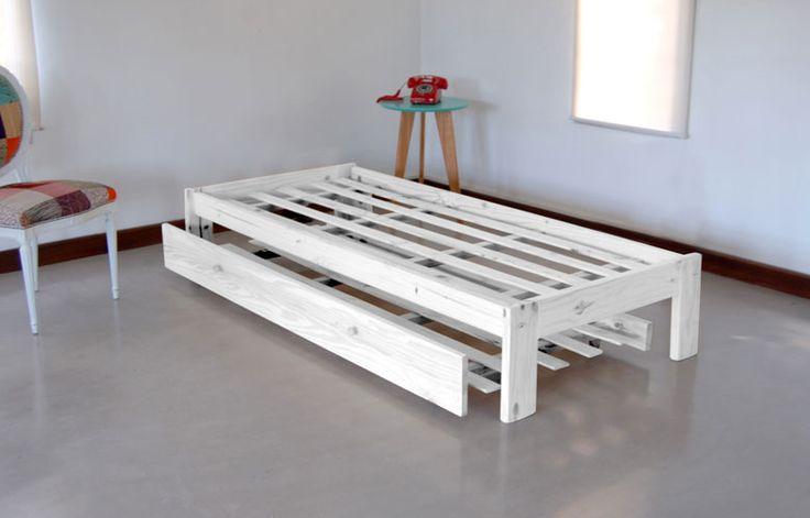 Combo c303 cama otomana 1 plaza blanco r stico con for Cama otomana
