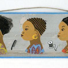 """www.cewax.fr aime Tableau peinture ethnique Peinture enseigne de coiffeur africain (""""les 3 étapes du greffage"""")"""