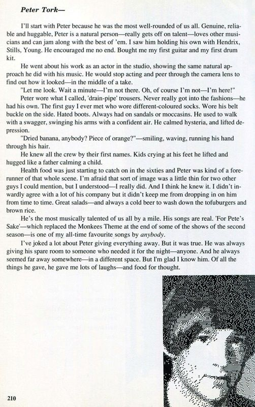 Davy Jones reflects on Peter Tork in his 1987 'They Made a Monkee Out of Me' autobiography. | Monkees Live Almanac