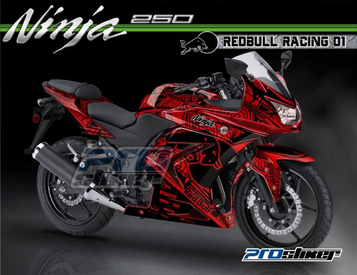 Modifikasi Ninja 250 Karbu Warna Merah Decal Modif REDBULL RACING 01 Merah Full Body Prostiker