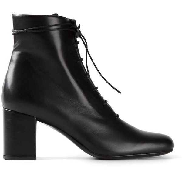 Saint Laurent chunky heel ankle boots found on Polyvore