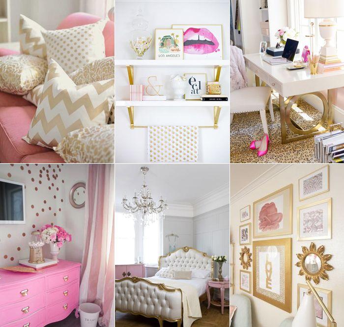 Inspiração: combinando rosa e dourado – Depois Dos Quinze  Pessoal está combinação de cores é super bonita e recomendo pois fica muito estiloso o quarto