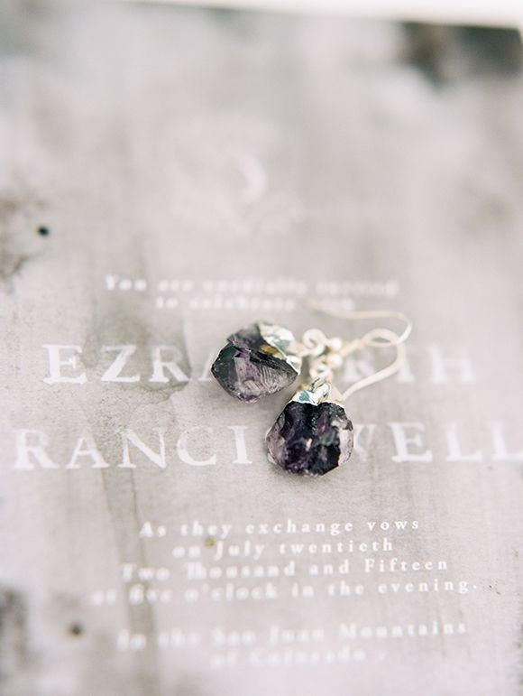 Black-earrings-on-Wells-and-Makery-wedding-invitation