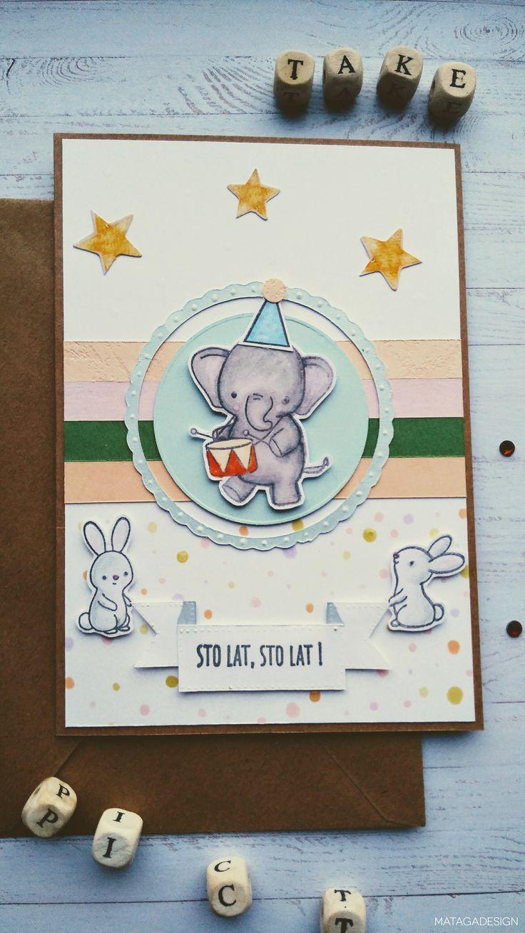 Prosta kartka urodzinowa ze słoniem i królikami