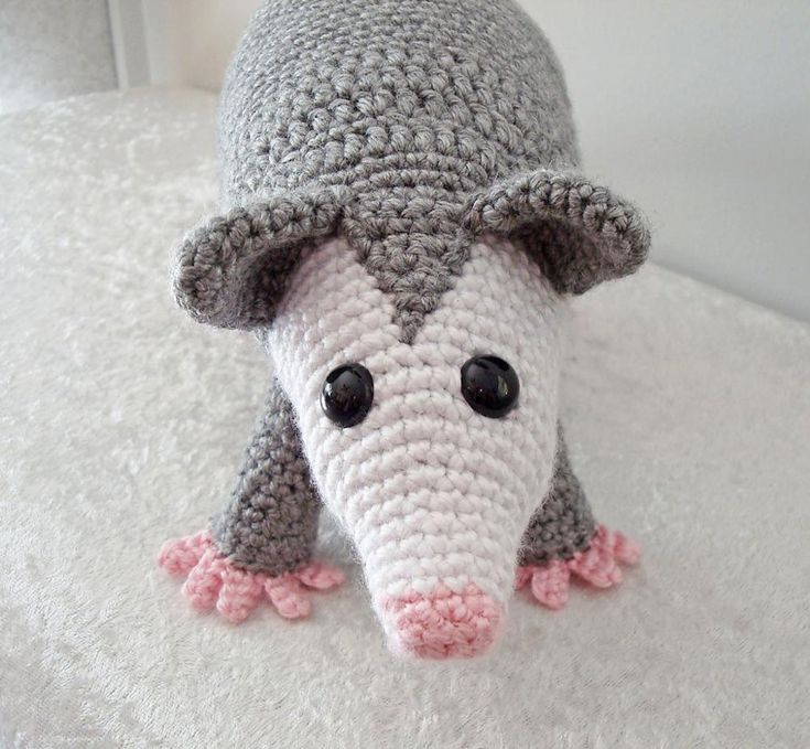 This listing is for an Adobe Pdf file of a crochet pattern for an Opossum. Please note that this is a pattern only, the finished item is not included.The pattern is crocheted in a continuous spiral and requires knowledge of the following stitches (including increases and decreases): chain, slip stitch, single crochet, half double crochet, and double crochet.Item size will depend on the weight of yarn used. The sample was crocheted using worsted weight acrylic yarn and size F crochet hook. Sam...