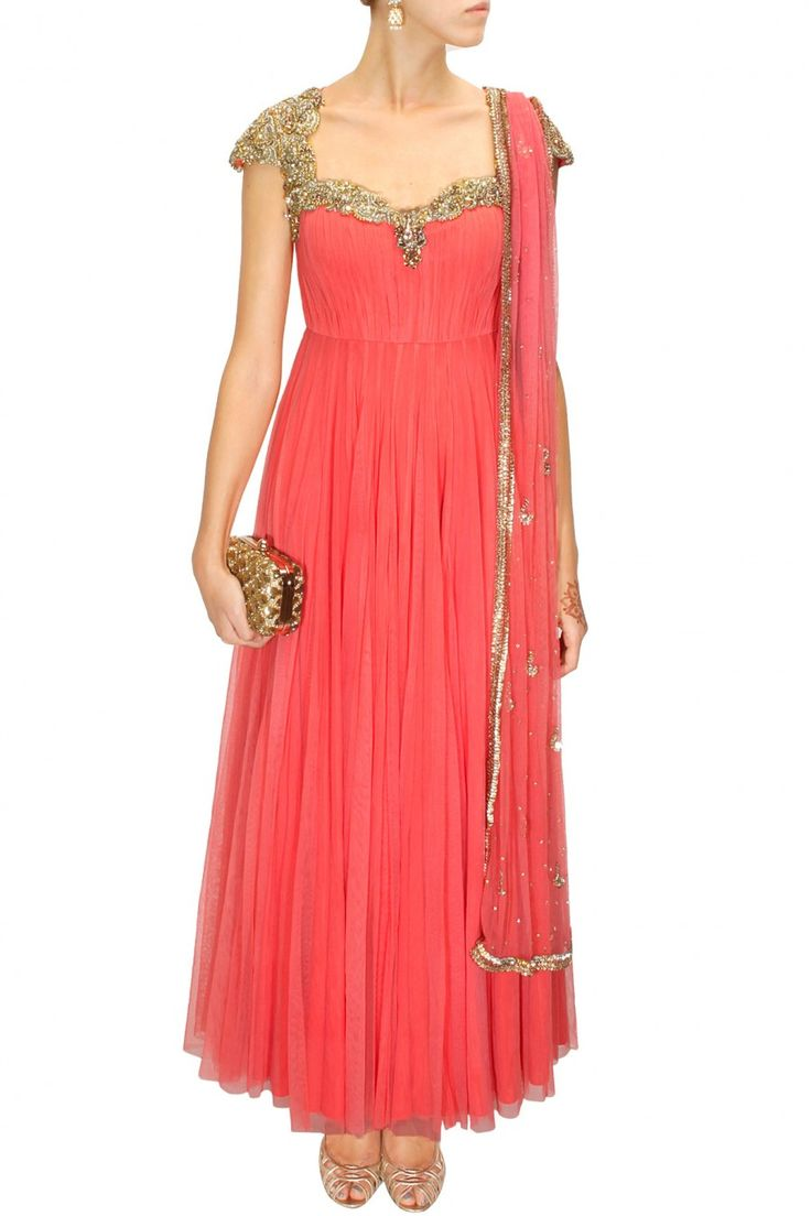 Coral gold embroidered anarkali set available only at Pernia's Pop-Up Shop.