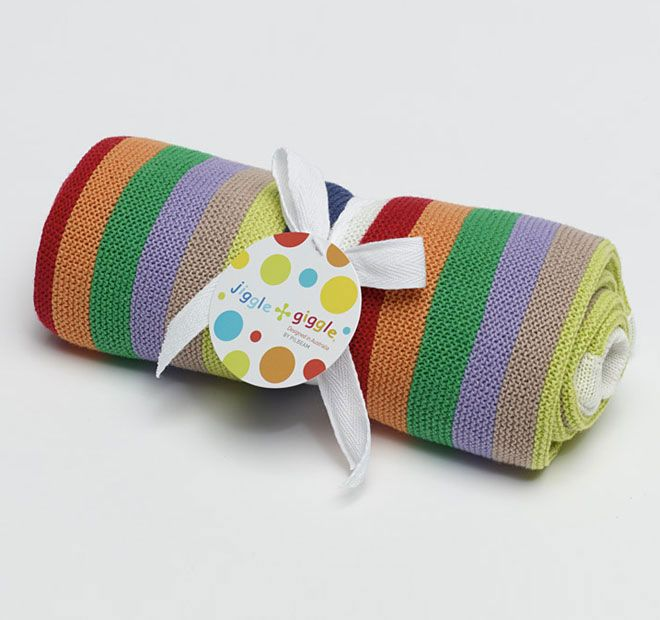 Jiggle and Giggle Multi Stripe Cotton 70x90cm Blanket