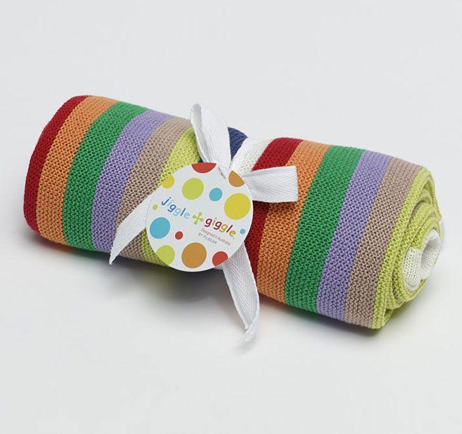 Jiggle and Giggle Multi Stripe Cotton 70x90cm Blanket