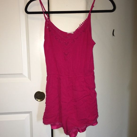 PINK ROMPER Beautiful pink color with detailing on the neck line. Very cute and versatile Lush Dresses