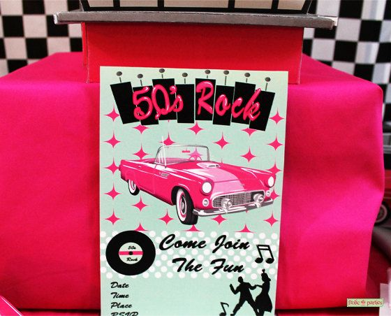 50s Party Invitations Print At Home on Etsy, $2.95