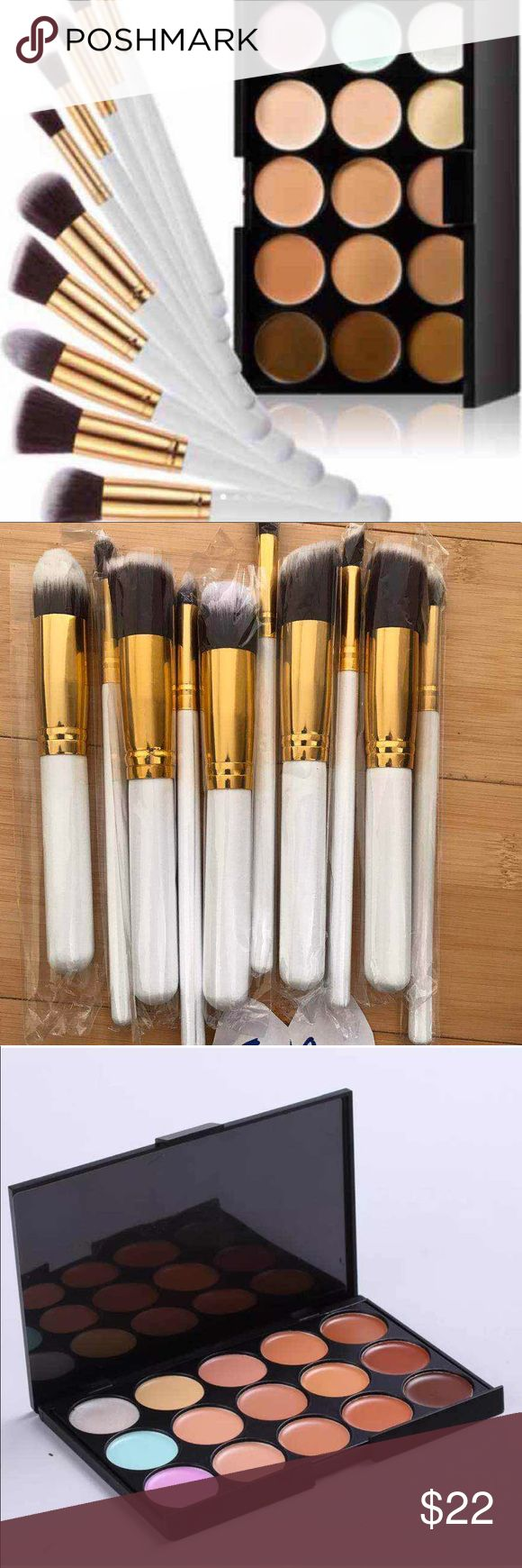 💕❤️🌷New 10pcs makeup brushes +1concealer palette 10PCS Pro Makeup Brushes Set+Concealer 100% brand new  Brush hair's material: Synthetic fibre  Brush handle's material: Wood  Brush length: Large brush: 4.92 inch, Small brush: 5.91 inch 15 Colors Contour Face Cream Makeup Concealer Palette Sponge Puff Powder Brush^~  # New 15 color Camouflage Concealer Palette An ensemble of multiple vibrant long wear concealer colors 15 full color palettes Concealer, include matte and shimmer colors match…