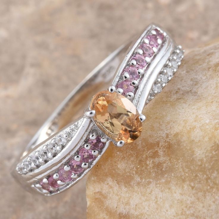 Imperial Topaz, Pink Tourmaline, and Cambodian Zircon Platinum Over Sterling Silver Ring