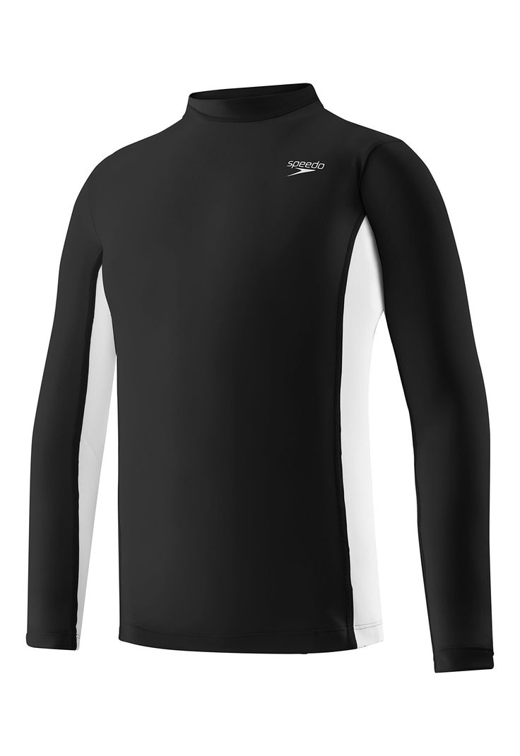 Speedo Big Boys' UV 50 Plus Long Sleeve Rashguard, Black, X-Large. UV block the burn UPF 50+ sun protection technology. Unisex sizing fits S/7-8, M/10-12, L/14-16, XL/18-20. Crew neck pullover for easy on and off in easy care nylon/spandex blend. Long sleeves for maximum coverage and protection. Made by Speedo, the world's premier aquatics brand.