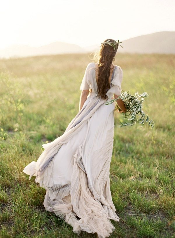Neutral Samuelle Couture gown shot by Jose Villa | On the Horizon – Elegant Coastal Wedding Inspiration in Seaglass and Grays